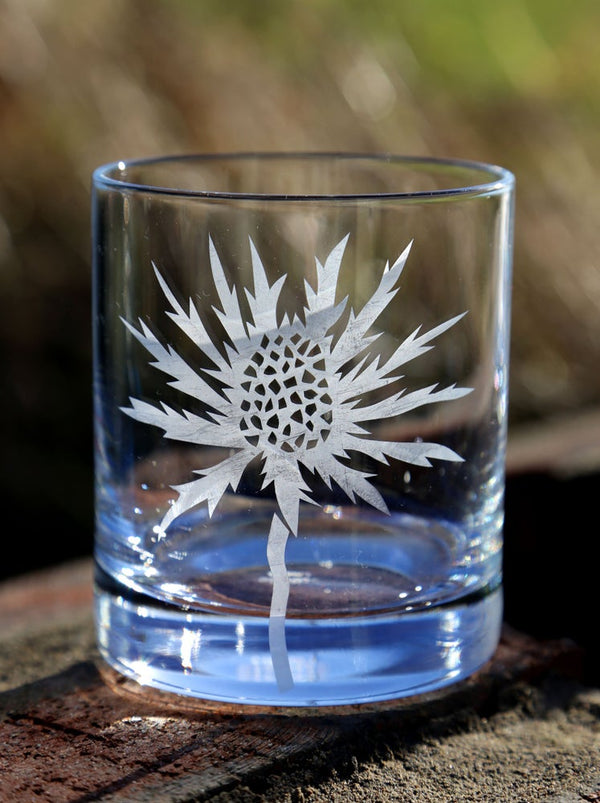 Sea Holly Hand Etched Crystal Whisky Tumbler