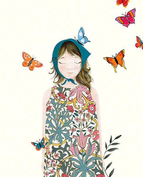 Girl With Butterflies Card