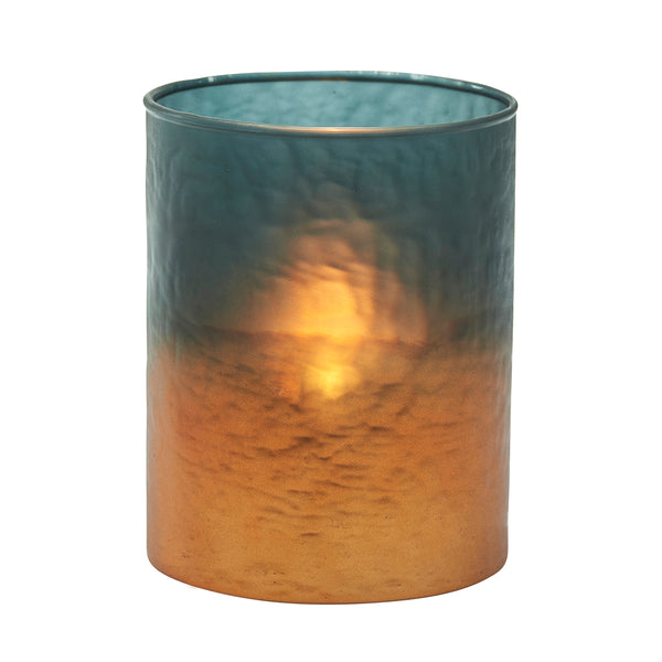 Copper Glow Glass Candle Holder