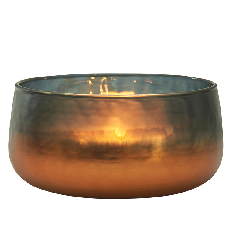 Copper Glow Glass Votive Holder