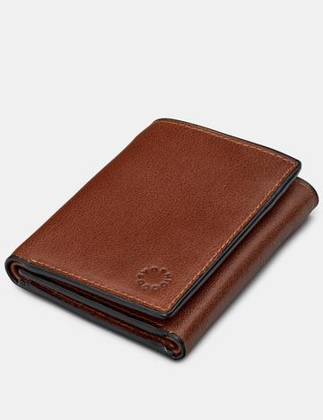 Genuine Brown Leather Three Fold Wallet