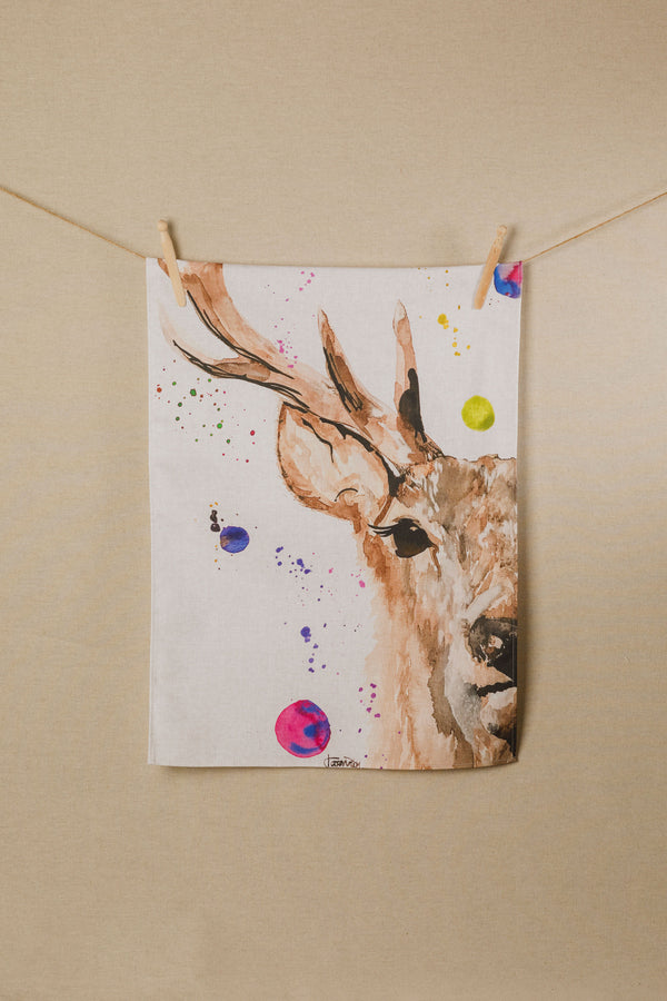Stag Water Colour Tea Towel