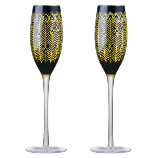 Midnight Peacock Champagne Glasses
