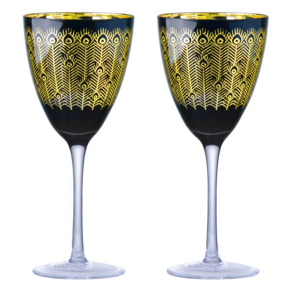 Midnight Peacock Wine Glasses