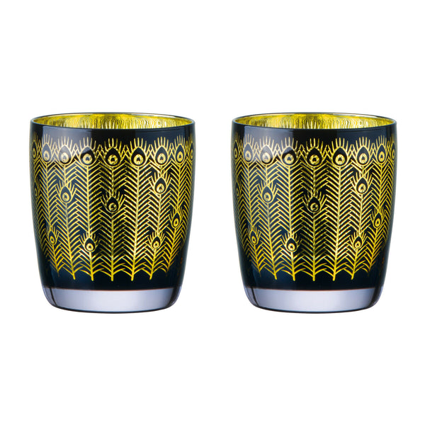 Midnight Peacock Tumbler Glasses