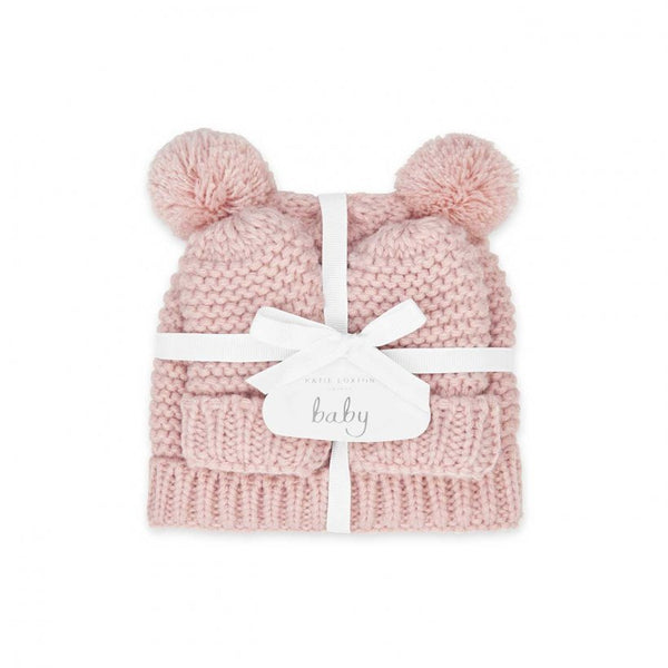 Baby Hat and Mittens Set 0-6 Months, Pink