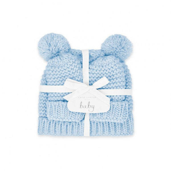 Baby Hat and Mittens Set 0-6 Months, Blue