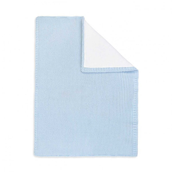 Cotton Knitted Baby Blanket, Blue