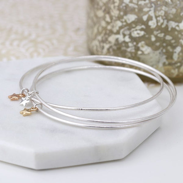 Silver Plated Bangles With Stars