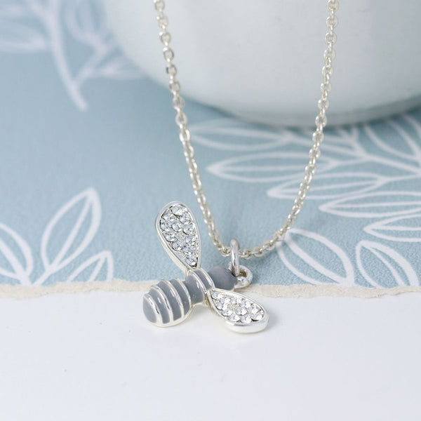 Silver Plated & Enamel Bee Necklace
