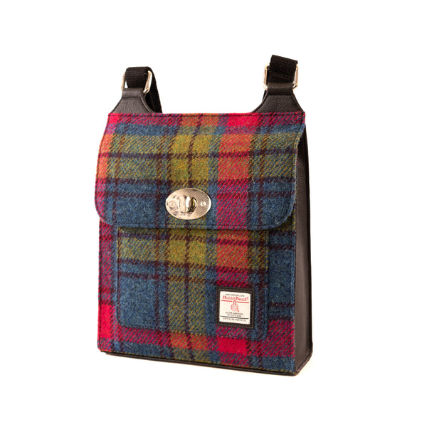 Harris Tweed Satchel Bag- Blue & Pink Check