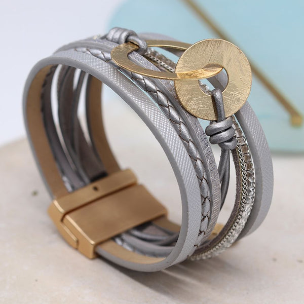 Grey Bracelet With Golden Circles