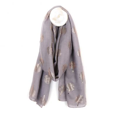 Grey Scarf With Rose Gold Tree Print