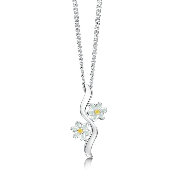 Daisies At Dawn Sterling Silver Pendant Necklace