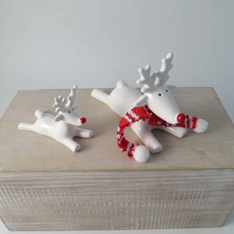 White Reindeer With Red Nose - Lying Down