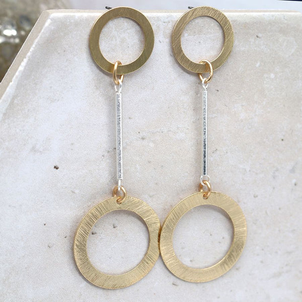 Golden Double Circle Drop Earrings