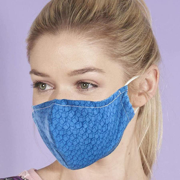 Eco Chic Reusable Face Cover- Blue Disrupted Cubes