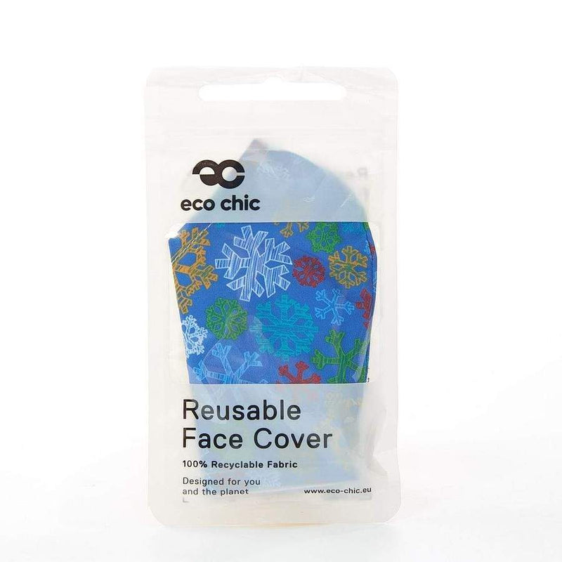 Eco Chic Reusable Face Covering- Blue Snowflakes