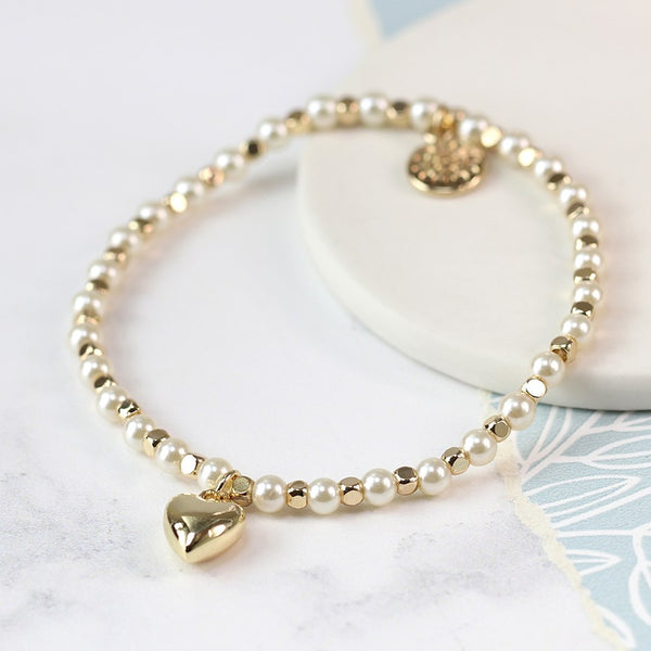 Gold Bead & Pearl Bracelet With Gold Plated Heart