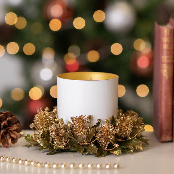 Glittery Gold Festive Candle Ring