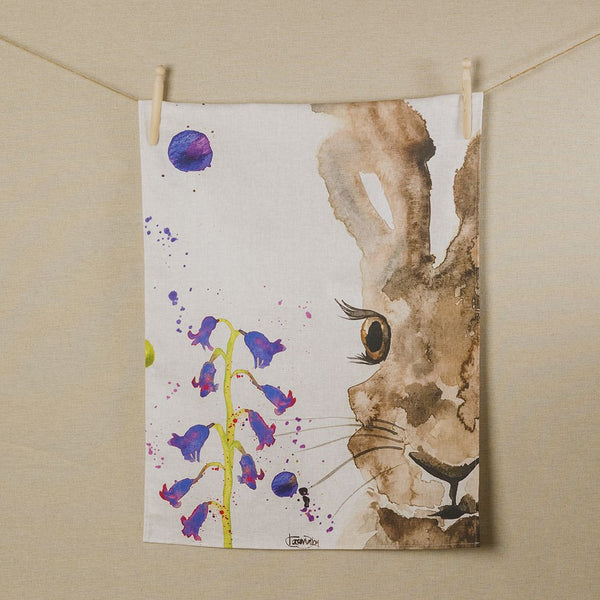 Hare Water Colour Tea Towel