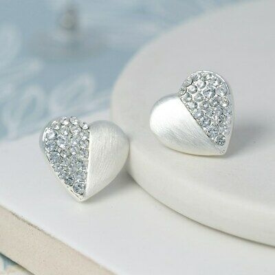 Silver Plated Heart Stud Earrings