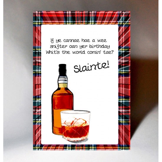 Whisky Slainte Birthday Card