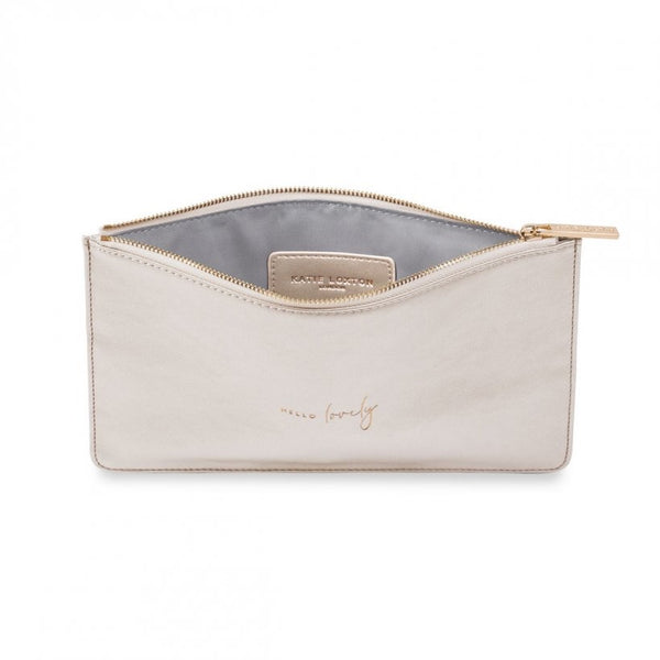 Hello Lovely, Metallic White Pouch