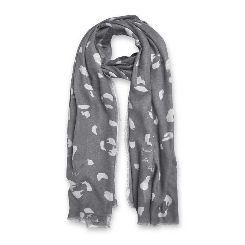 Oh So Chic Printed Scarf- Charcoal & Pale Grey