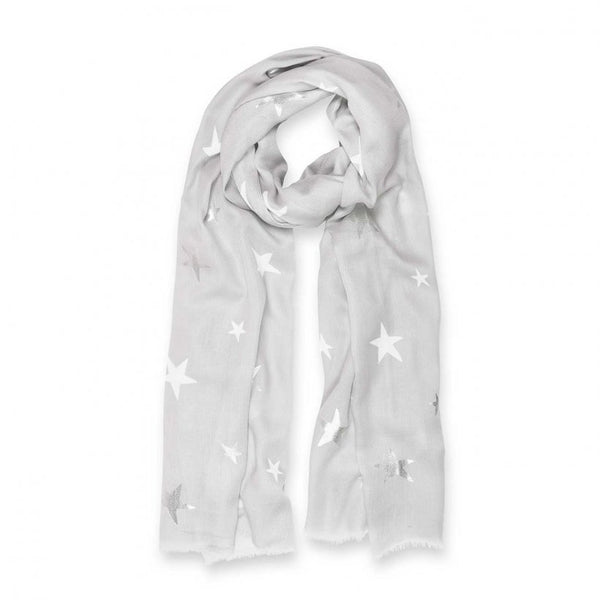 Metallic Pale Grey Star Scarf