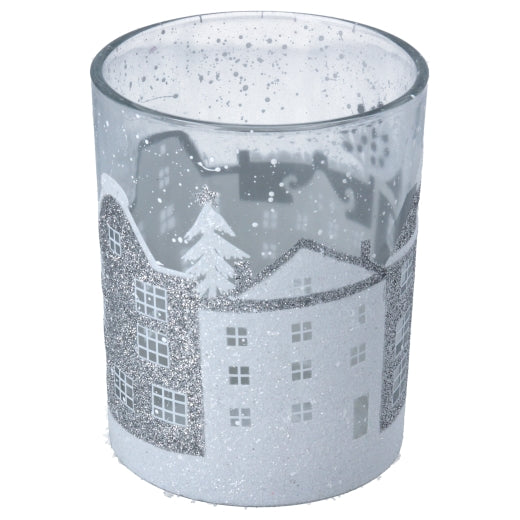 Glittery Houses  Glass Tea light Holder