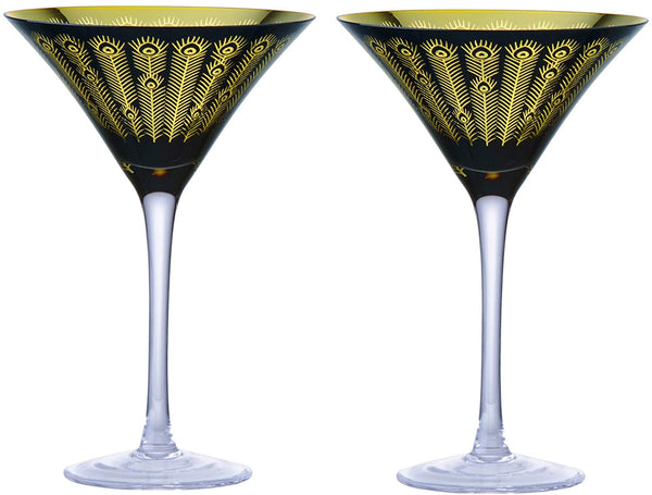 Midnight Peacock Martini Glasses