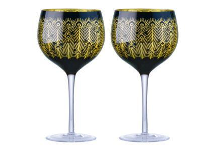 Midnight Peacock Gin Glasses