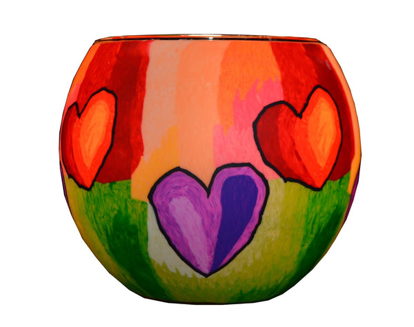 Glowing Glass Tea Light Holder, Colourful Hearts