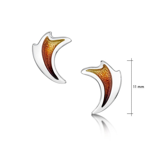 New Wave Silver Curve Stud Earrings