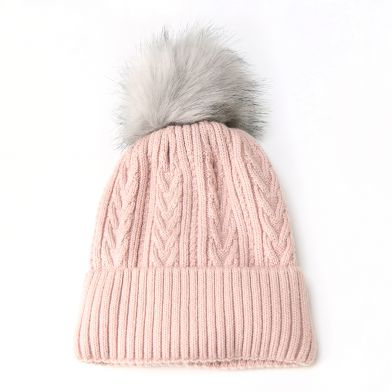 Pale Pink Cable Knit Hat With Fur Pom Pom