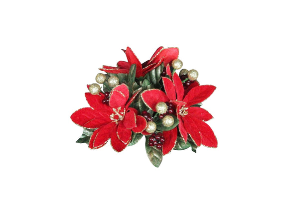 Poinsettia & Gold Berries Ring For Tapered Candles
