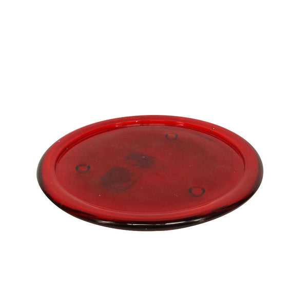 Red Glass Candle Centrepiece Plate
