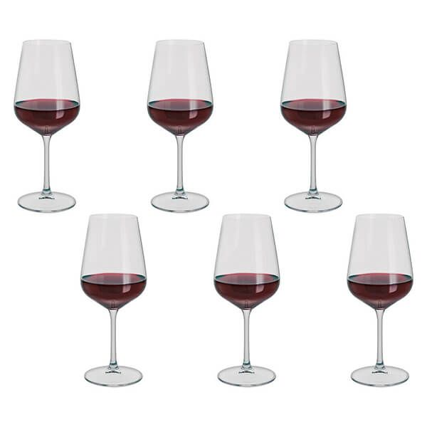 Box Of 6 Crystal Red Wine Glasses
