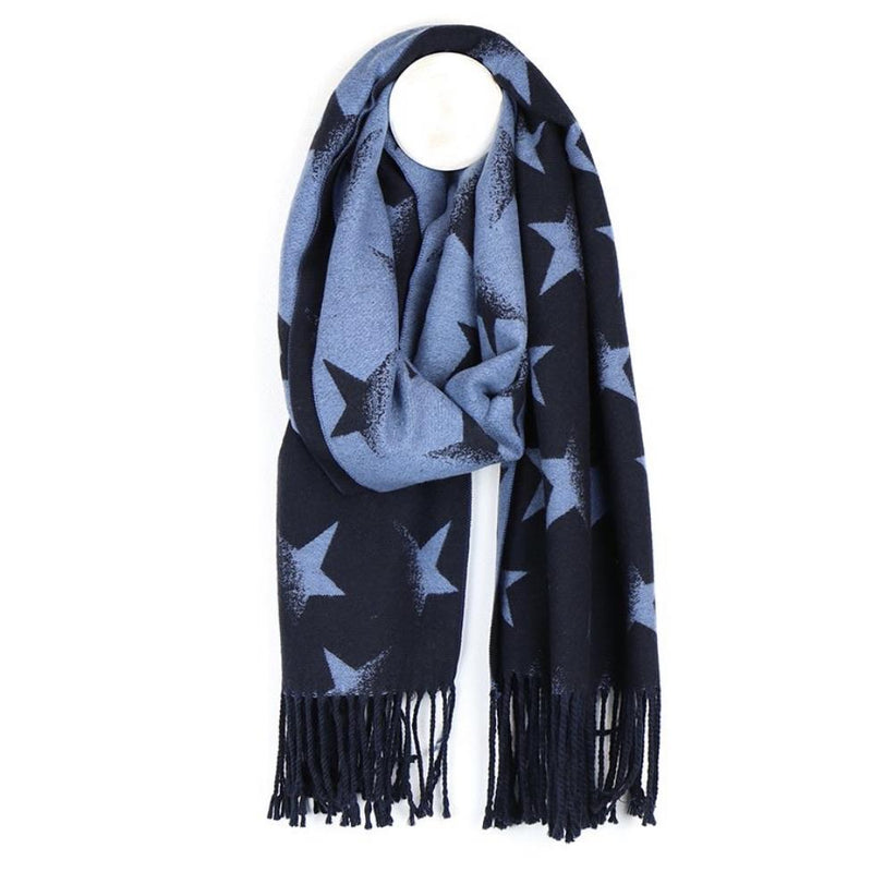 Navy Blue Reversible Star Scarf