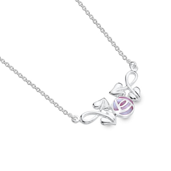 Pink Mother Of Pearl Rose & Leaves Necklace
