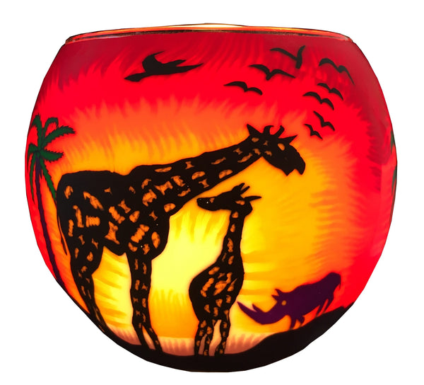 Glowing Glass Tea Light Holder, Giraffe