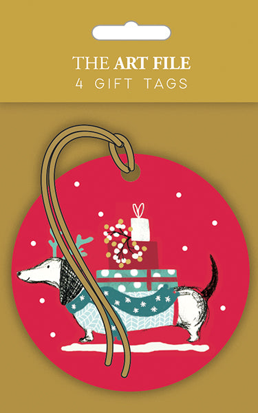 Sausage Dog And Presents Gift Tags- Pack Of 4