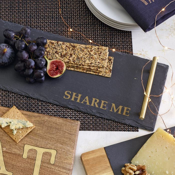 Slate Serving Platter With Brass Handles