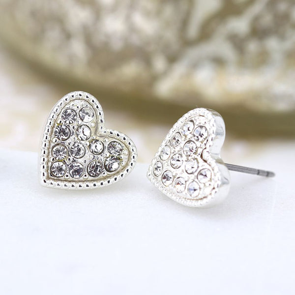Silver Crystal Heart Stud Earrings