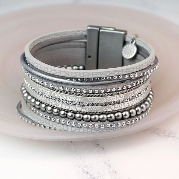 Wide Silver Leather Strands Crystal Bracelet