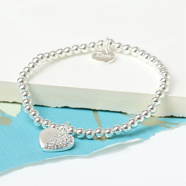 Silver Plated Split Heart Crystal Bracelet