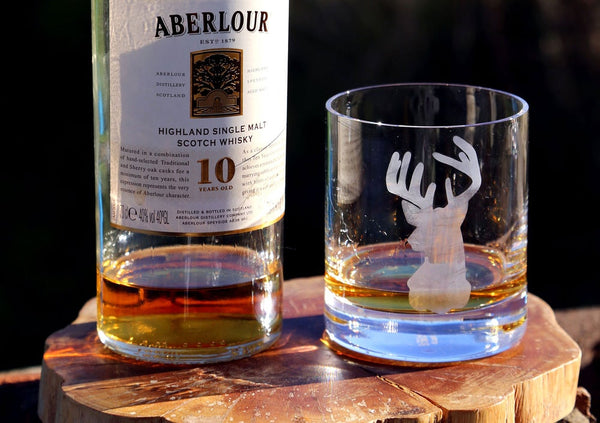 Stag Hand Etched Crystal Whisky Tumbler