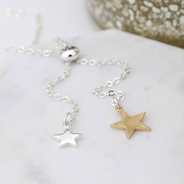 Silver & Gold Plated Star Necklace