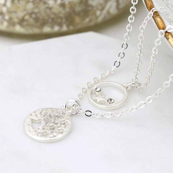 Silver Plated Star Disc Necklace